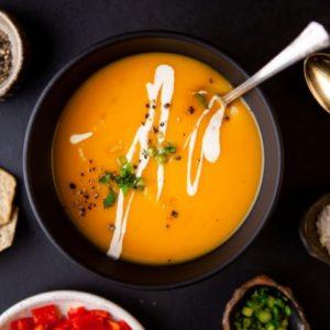 Instant Pot Butternut Squash Soup in a black bowl