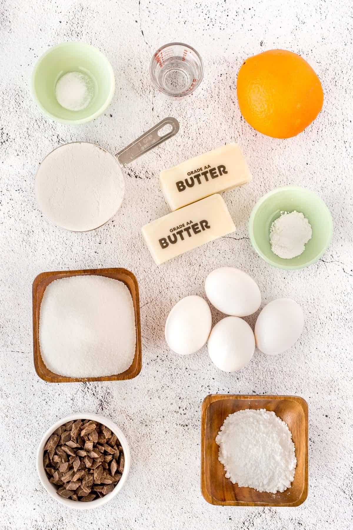 Ingredients for Orange Madeleine Cookies