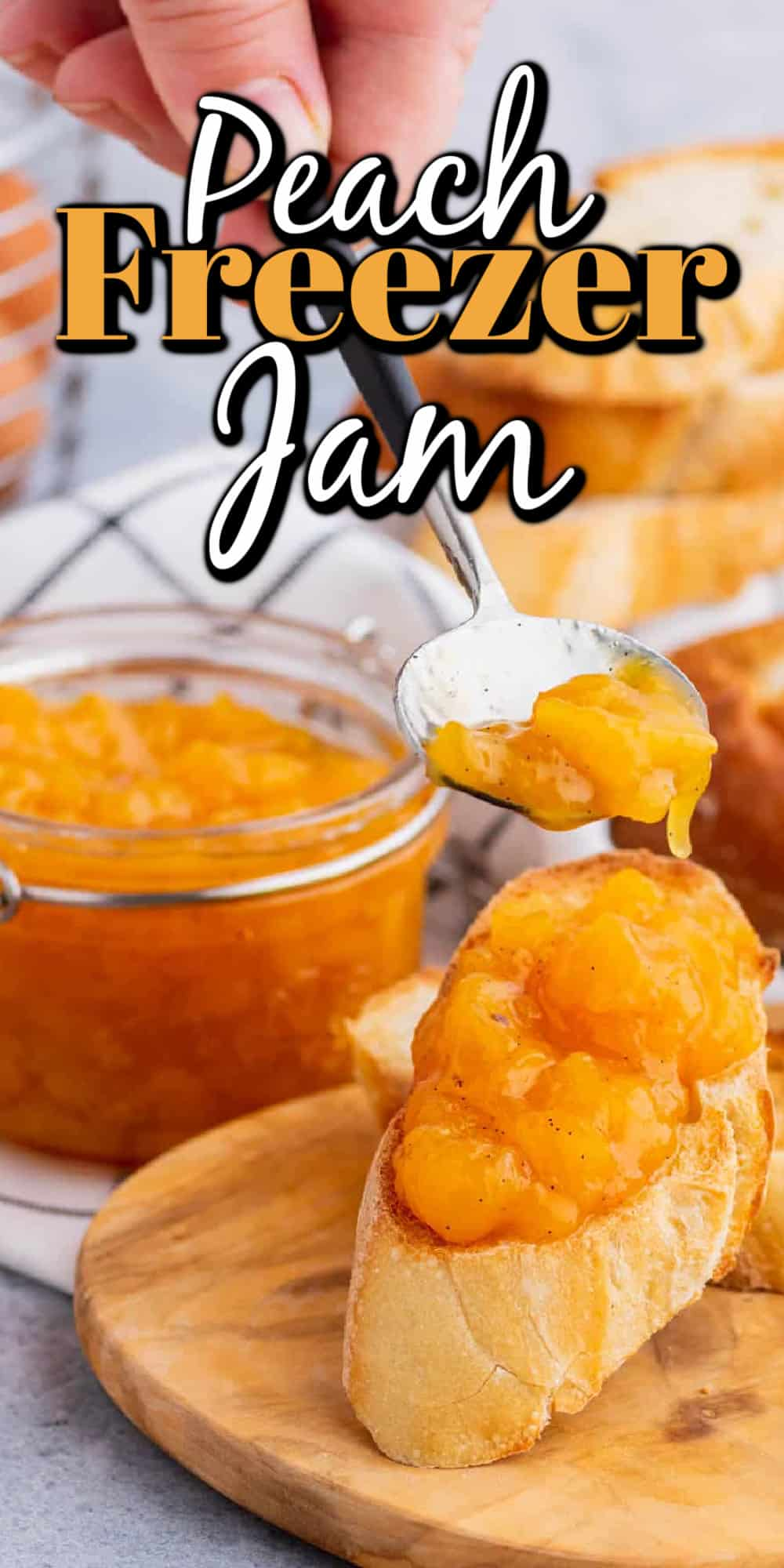 Easy Vanilla Peach Freezer Jam Pin