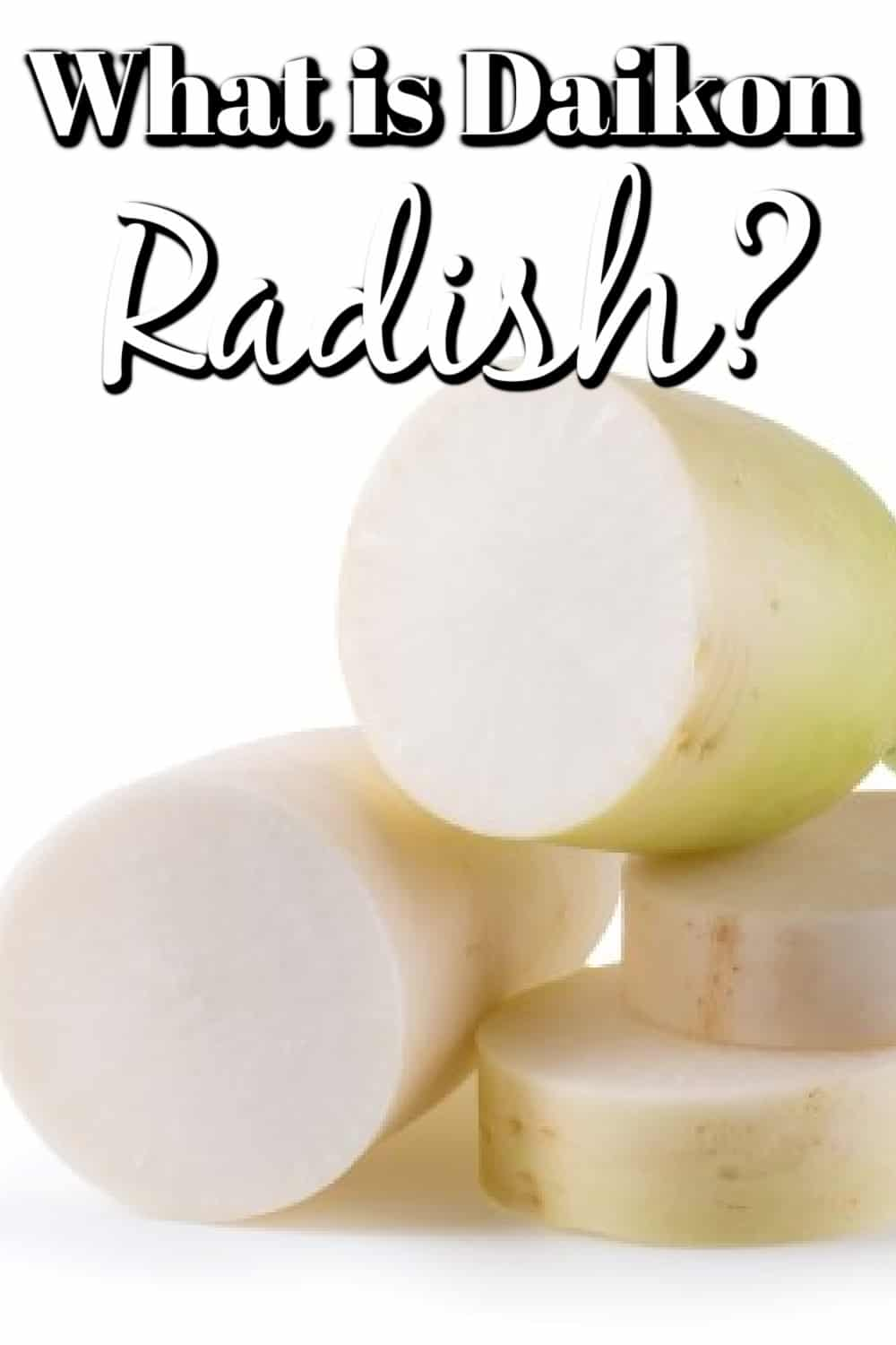 Daikon radishes isolated over a white background. made into a pin