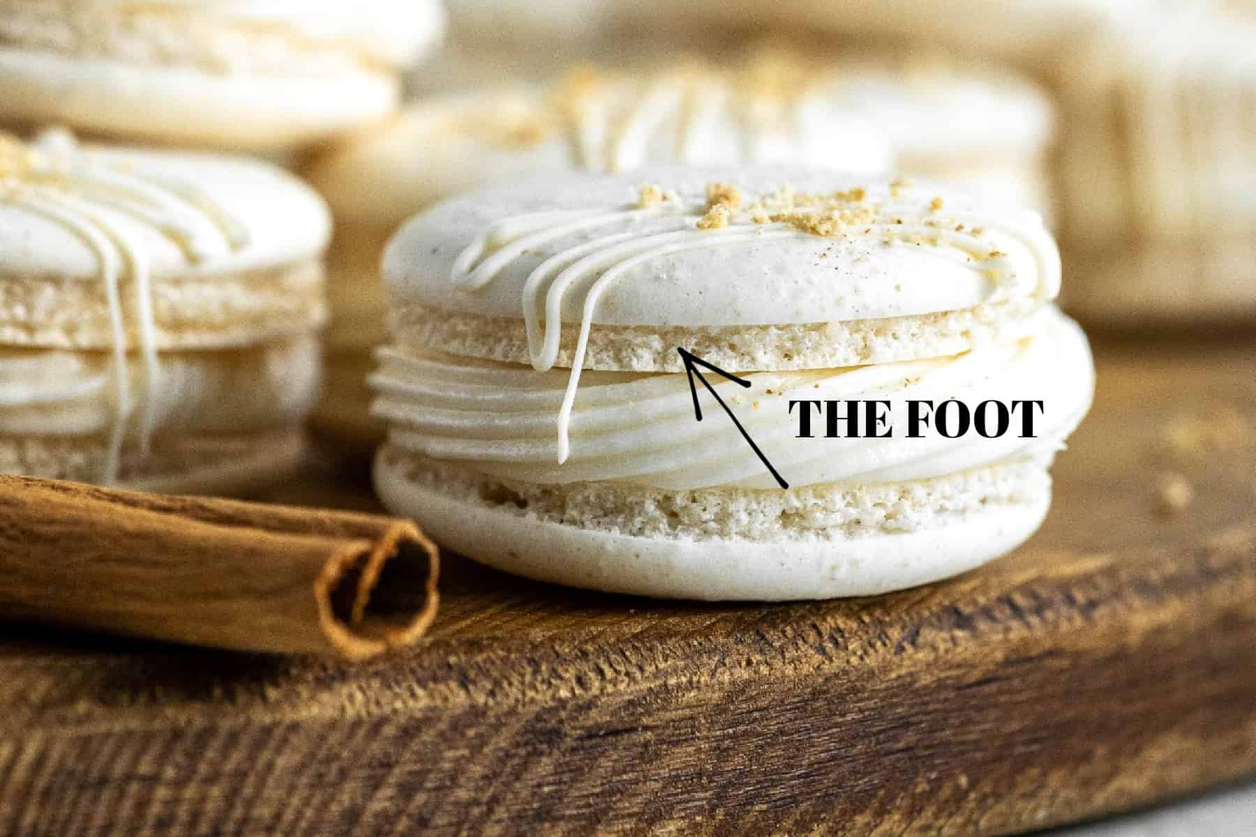 Showing the foot of a macaron