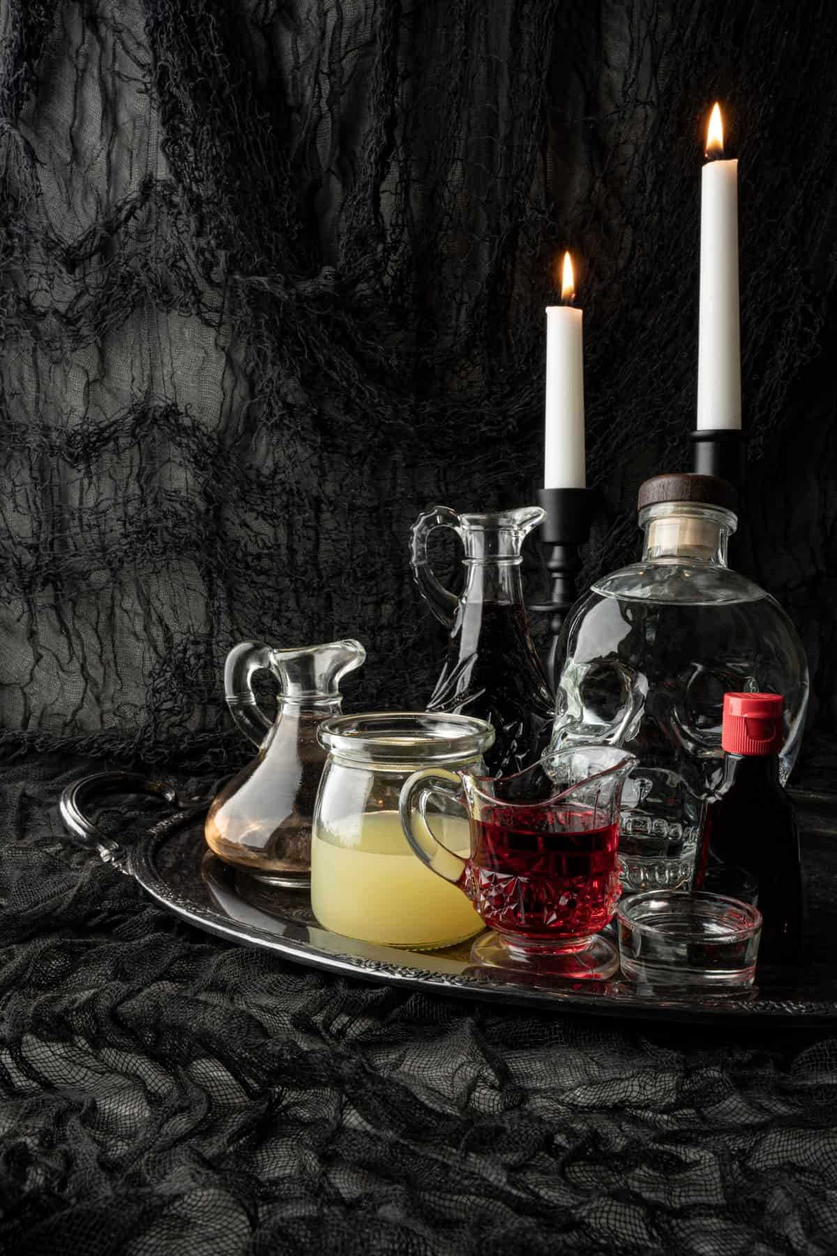 Ingredients for Dracula's Kiss - Halloween Cocktail