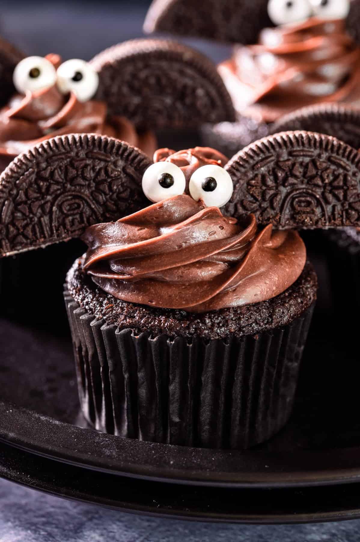 Close-up of one Halloween Bat Cupcake