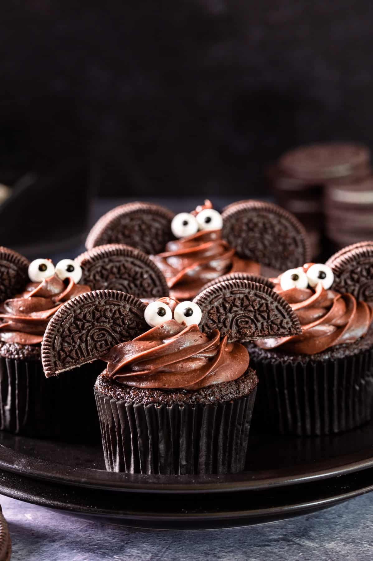 Chocolate Bat Cupcakes on a plate
