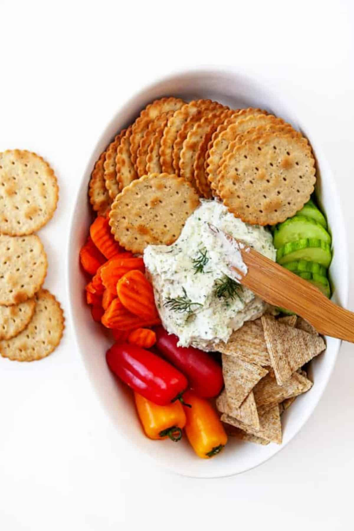 Boursin cheese recipe with veggie and cracker dippers
