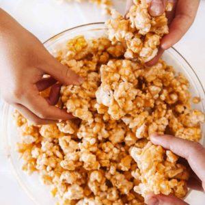 Sharing Peanut Butter Popcorn in a bowl