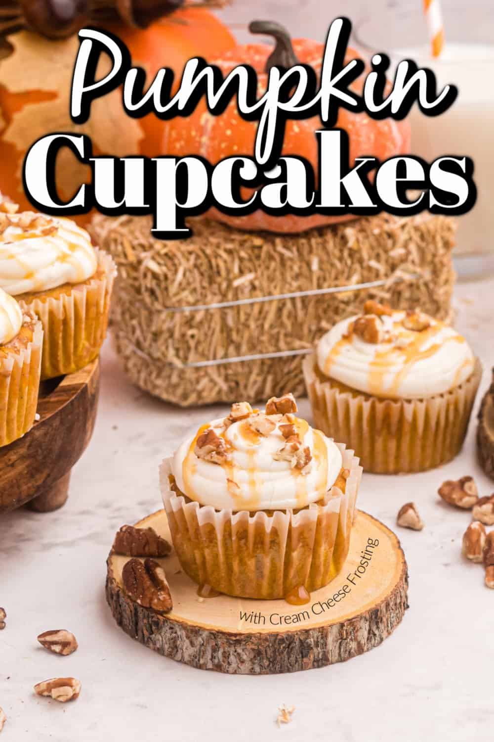 Pumpkin Cupcakes with Cream Cheese Frosting Pin