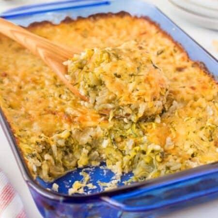 zucchini Au Gratin with Rice in a blue casserole
