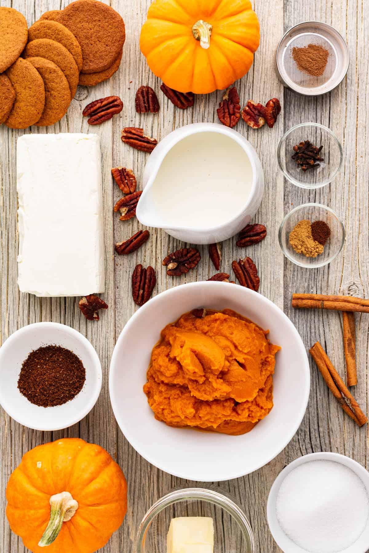 Ingredients used in making Pumpkin Delight dessert.