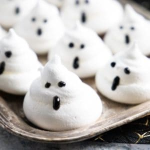 Meringue Ghosts on a silver tray.