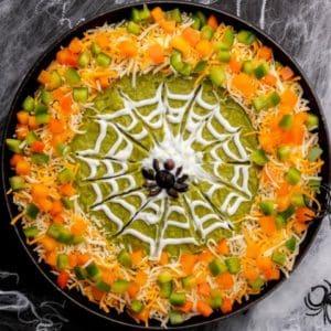 Halloween Spider Web Dip, overhead shot.